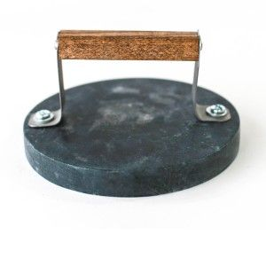 Hostess Gift Etiquette   Soapstone Tortillia Grill Press  Soapstone's amazing heat retaining qualities allow you to heat up the press right on the stove top for easy and even tortilla-making.