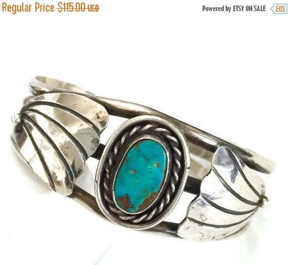 Native American Sterling Silver Turquoise Cuff, Beautiful Oval Turquoise Center Stone, Traditional Silver Work, Three Shank Cuff, 1960s