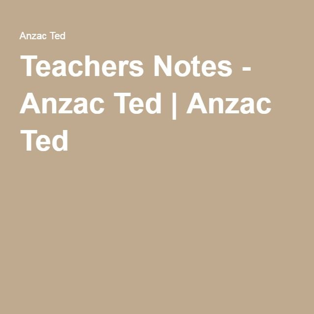 Teachers Notes - Anzac Ted   Anzac Ted