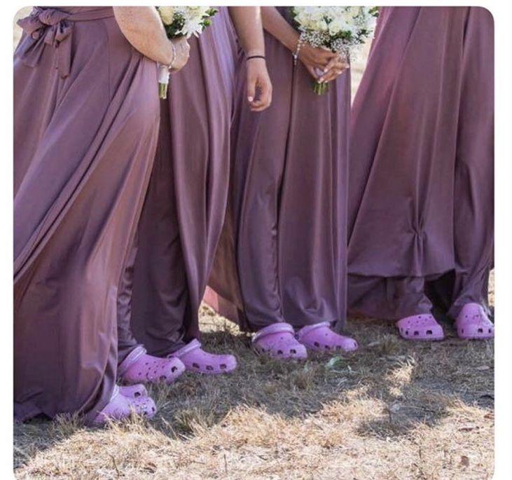 Brides Maids Wear Crocs With Images Wedding Crocs Bridesmaid