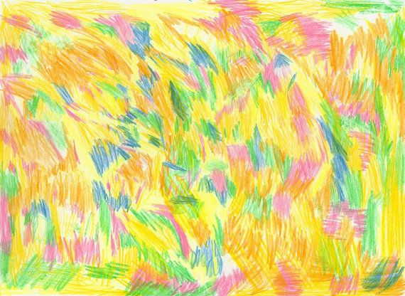 Abstract Drawing - Original Illustration - in color pencil