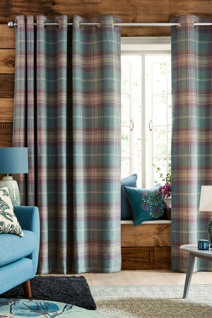 Buy Teal Woven Stirling Check Eyelet Curtains From The Next UK Online Shop