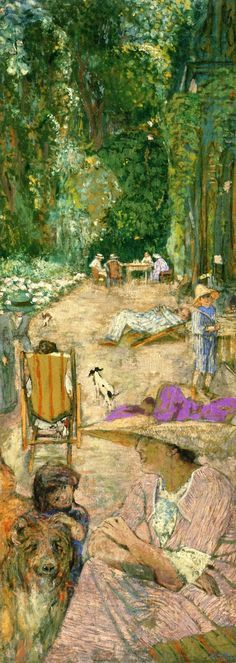 jean-édouard vuillard(1868–1940), the pavilions at cricqueboeuf, in front of the house, 1911. peinture à la colle on canvas, 212 x 79.8 cm. private collection http://www.the-athenaeum.org/art/detail.php?ID=103847