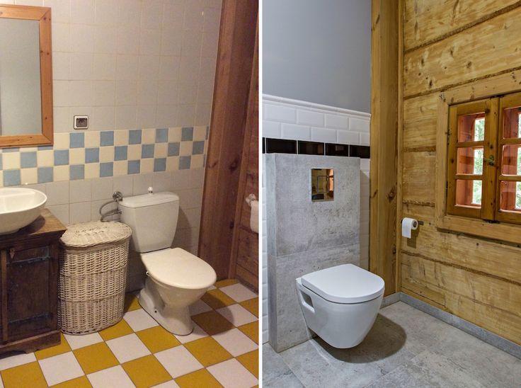 Wnętrza Zewnętrza - blog wnętrzarski: Szara łazienka w drewnianym domu - metamorfoza!