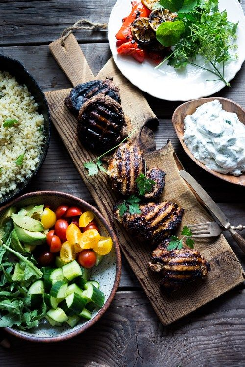 A simple tasty recipe for Grilled Greek Souvlaki Bowl with Cauliflower Rice, flavorful Cucumber Yogurt Sauce and fresh summer vegetables. This can be made with Grilled Chicken or Grilled Portobellos!+ 15 Delicious Summer Grilling Recipes