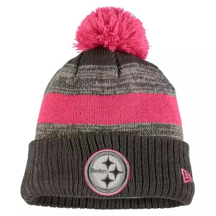 ... wholesale pittsburgh steelers new era 2016 breast cancer awareness  sideline cuffed pom knit hat heather gray ad3e06ec6640
