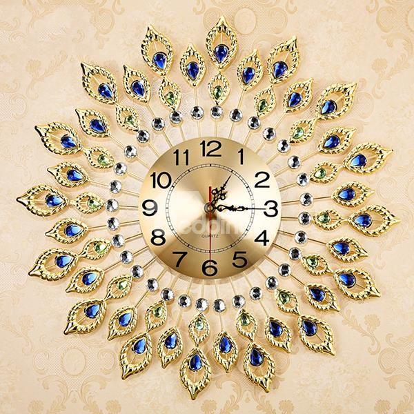 Fabulous Decorative Peacock Feather Design Metal Artwork Mute Wall Clock