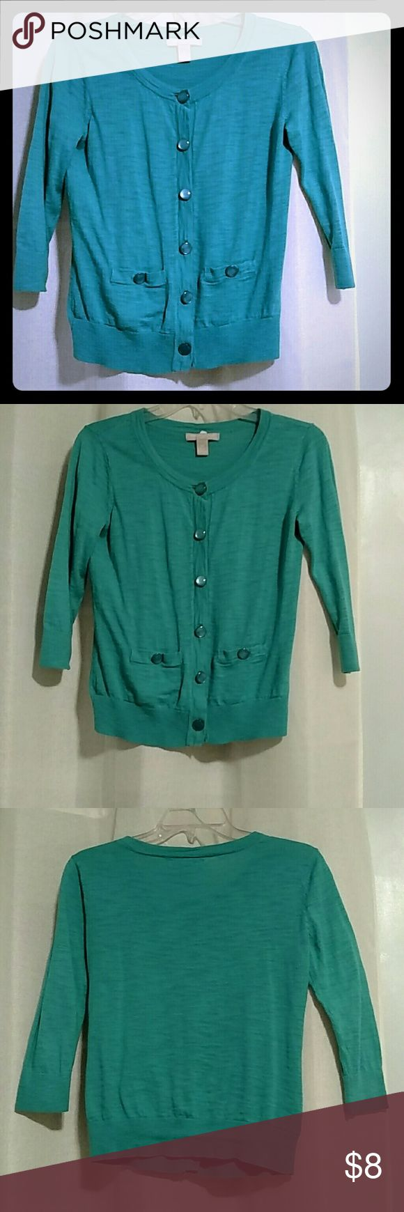 Banana Republic Turquoise Cardigan 3/4 sleeve light weight button up sweater from Banana Republic. Great for spring and chilly summer nights. Banana Republic Sweaters Cardigans