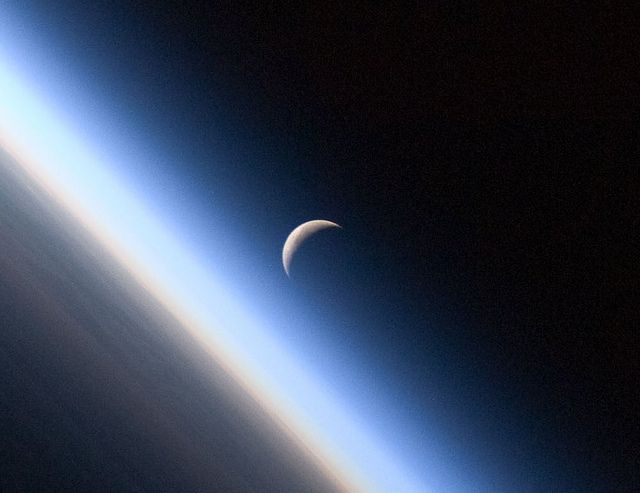 Crescent Moon, Earth's Atmosphere (NASA, International Space Station Science, 09/04/10)