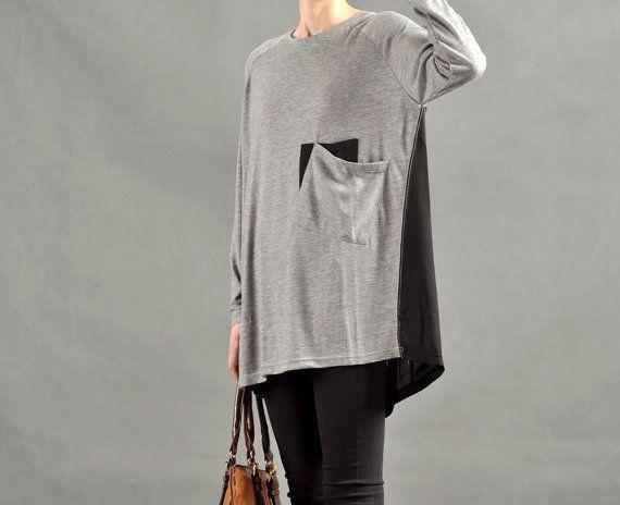 Donne grigio/nero contrasto camicetta lunga manica di MordenMiss