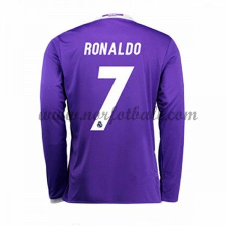 Billige Fotballdrakter Real Madrid 2016-17 Ronaldo 7 Borte Draktsett Langermet