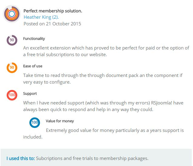 """Perfect membership solution"" what Heather King had to say about RSMembership! on JED ‪#‎JoomlaExtensions‬ ‪#‎RSMembership‬! ‪#‎JEDReview‬"