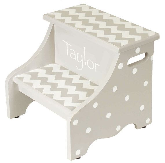 2 step hand painted gray chevron step stool by AveQcollection, $90.00
