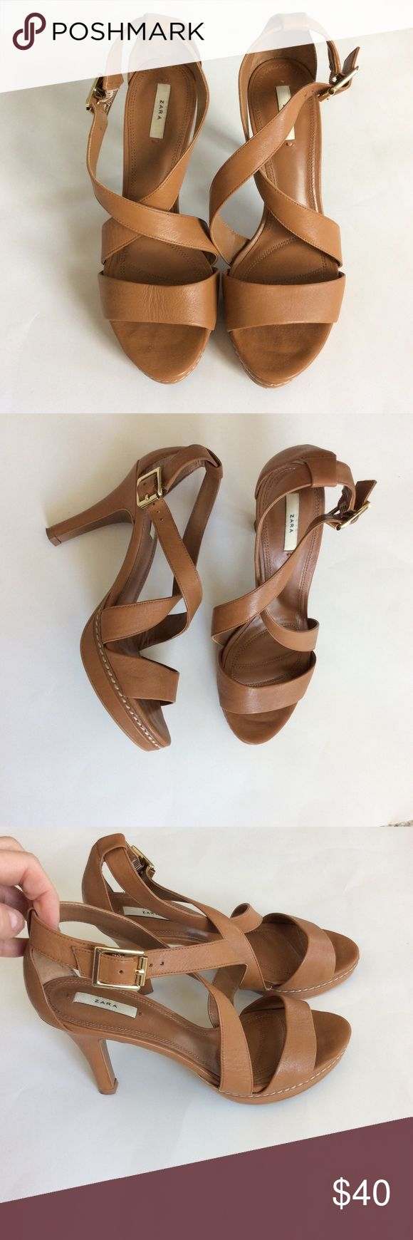 "Zara Strappy Heels Zara Strappy Heels. Gorgeous heels that can be worn with so many things. Great neutral tan color. Criss cross over the top of the foot. Side buckle. Approx 3/4"" platform with approx 3 3/4"" heel. Size 37. Excellent condition. Zara Shoes Heels"
