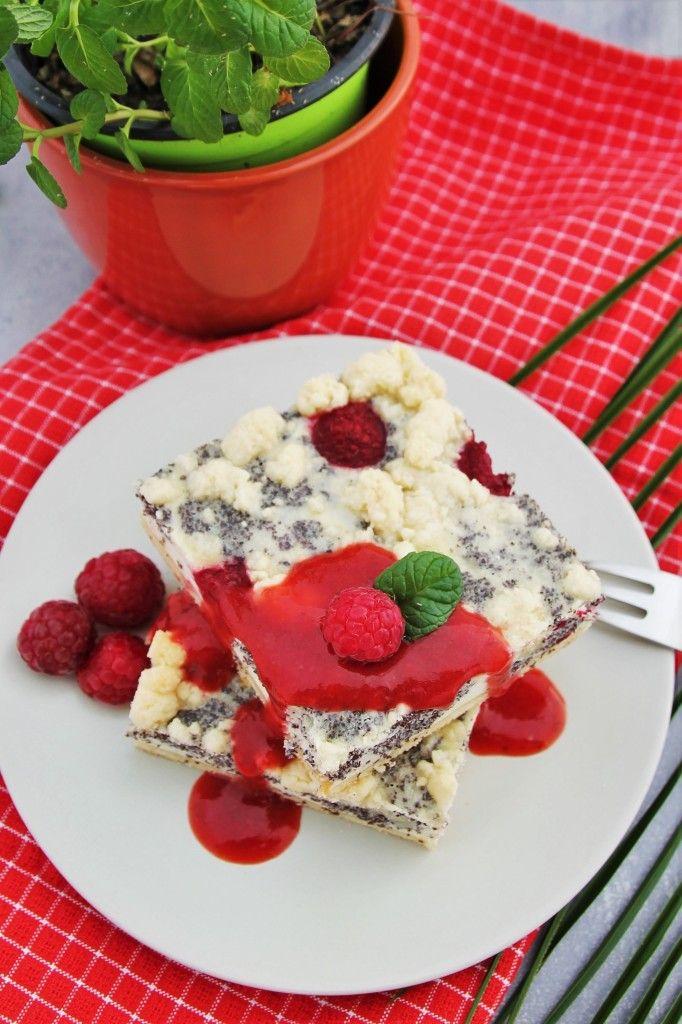 Mohn-Streuselkuchen mit Himbeeren - Blechkuchen - Sommer - www.candbwithandrea.com - Rezept 3-min