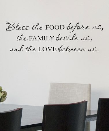 Take a look at this Black 'Bless the Food Before Us' Wall Quote by Wallquotes.com by Belvedere Designs on #zulily today!