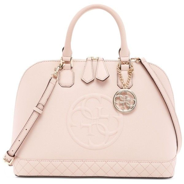 Guess Korry Dome Satchel ($128) ❤ liked on Polyvore featuring bags, handbags, cameo, guess handbags, guess bags, guess purses, pink purse and pink bag