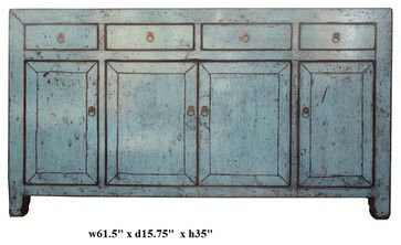 Rustic Light Blue Lacquer Oriental Sideboard Buffet Table rustic buffets and sideboards