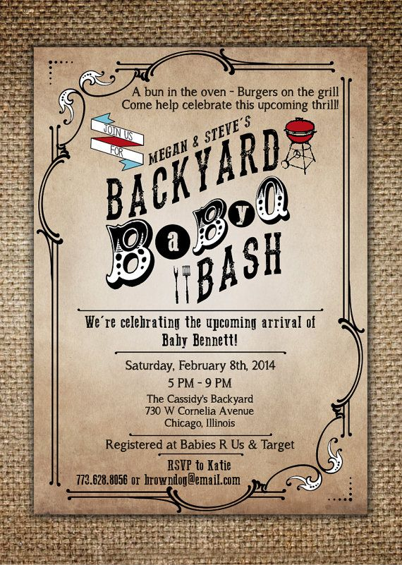 Baby Shower Invitation  Baby BBQ Backyard BaByQ by BrownDogPress, $18.00...Lee Hutto approved :)