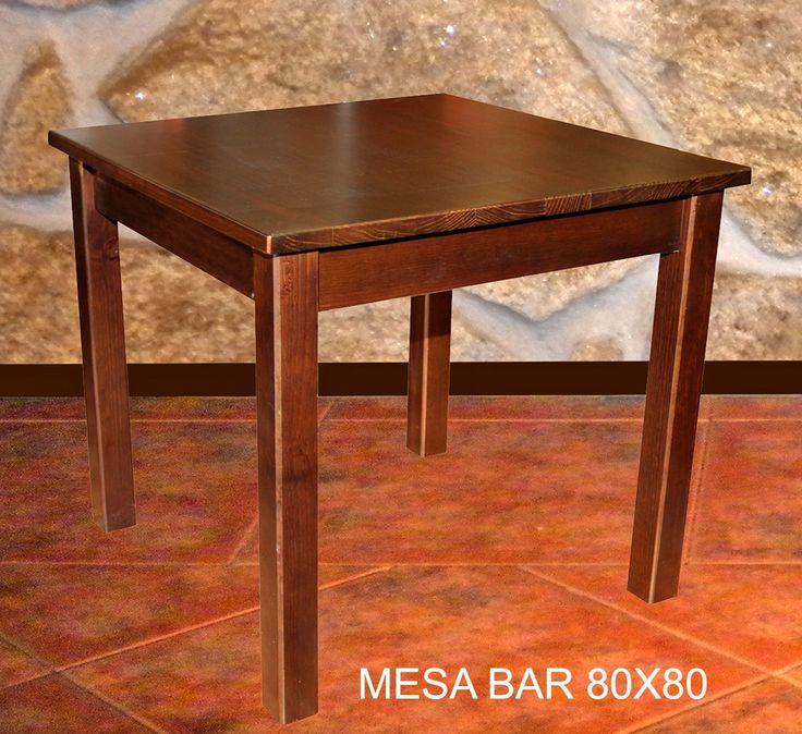 Mesa bar 90x90 mobiliario de madera pinterest mesas for Mesa carro bar madera
