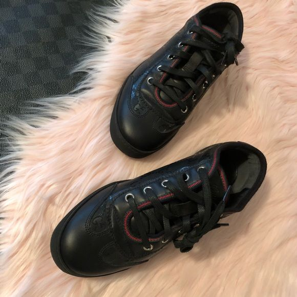 201bb758c2dc1 Black Gucci Leather Sneakers with Monogram Canvas Gucci GG Imprime Leather  Vintage Web 246344 sneakers size 36 feature black GG imprime uppers with  black ...