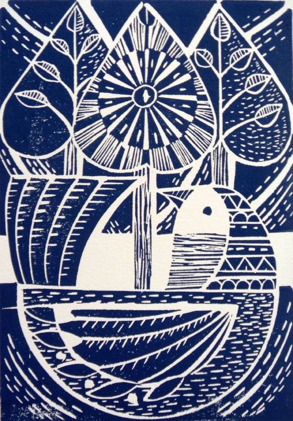 Blue Folk Bird and Trees Original Lino Cut Print