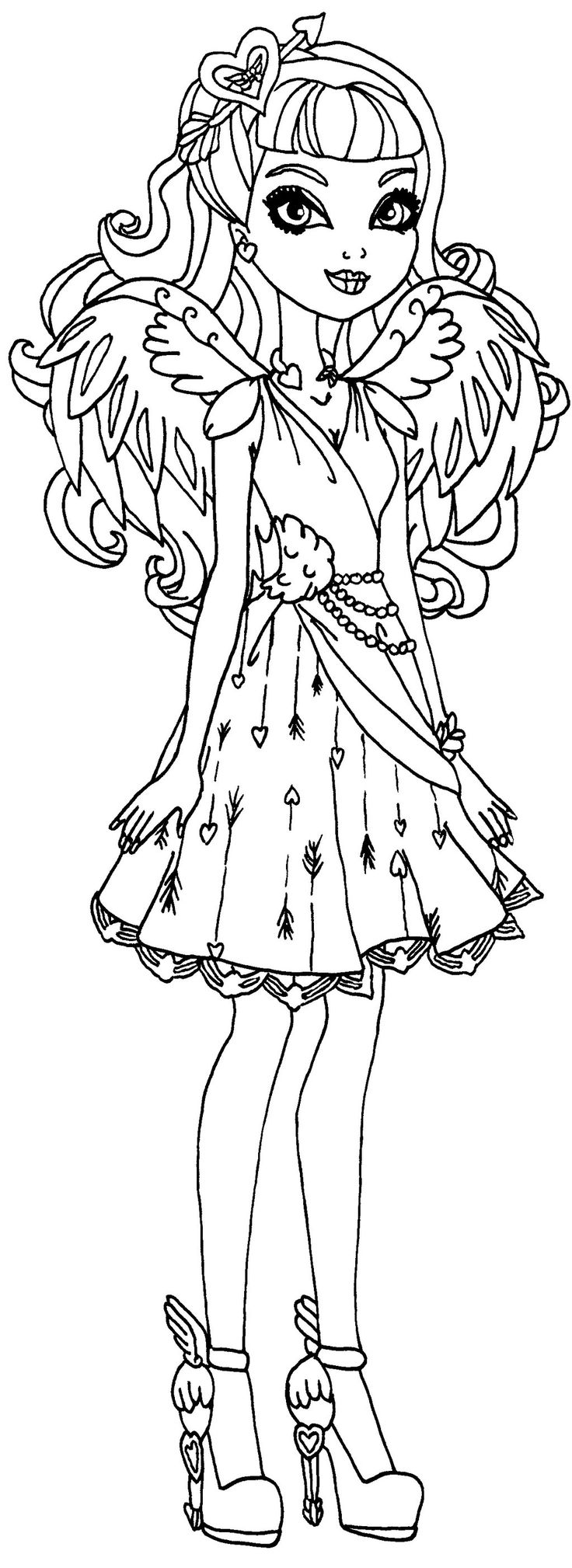the pretty young girl from ever after high beautiful coloring page printable