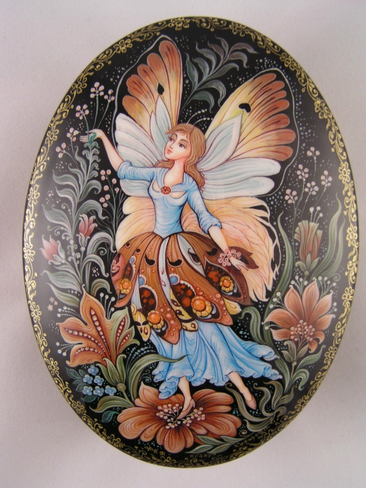 "Russian Lacquer Box ""Fairy"" Hand Painted Kholui"