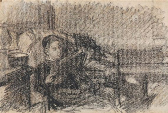 Artwork by James Ensor, Lezende dame in fauteuil. Zwart potlood, Made of Black pencil