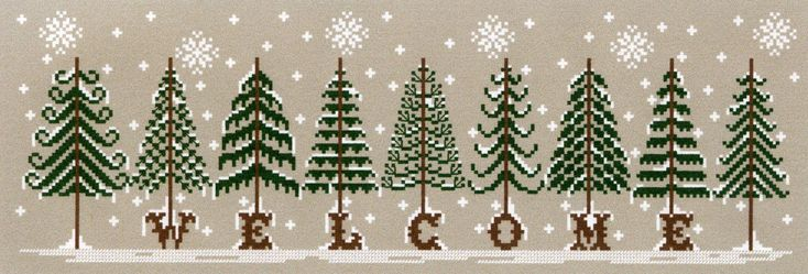 Fir tree welcome, cross stitch pattern Love It!!!