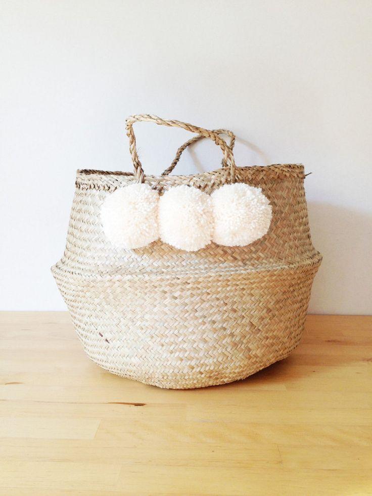 Pom Pom Seagrass Belly Basket Cream Panier Boule by TalaHomeDesign