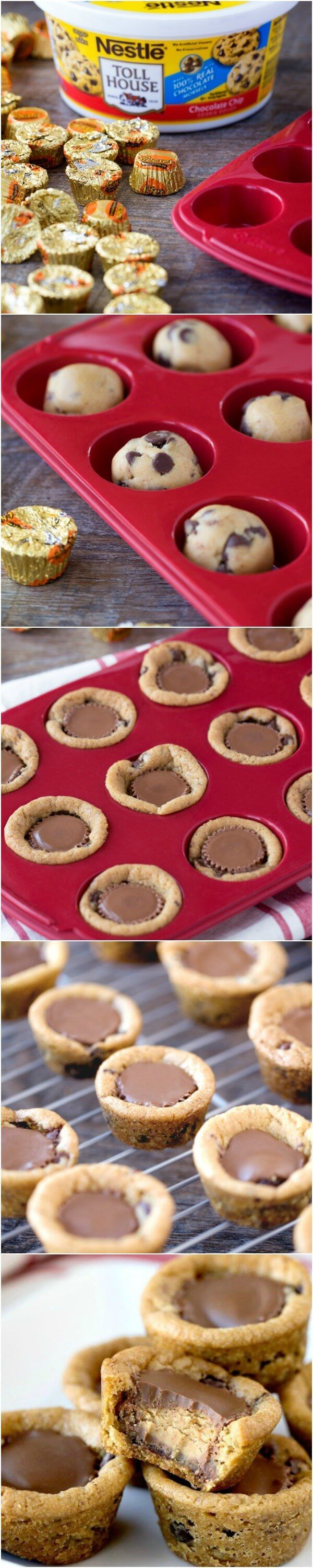 Reese's Peanut Butter Chocolate Chip Cookie Bites - Easy and quick dessert only 2 ingredients