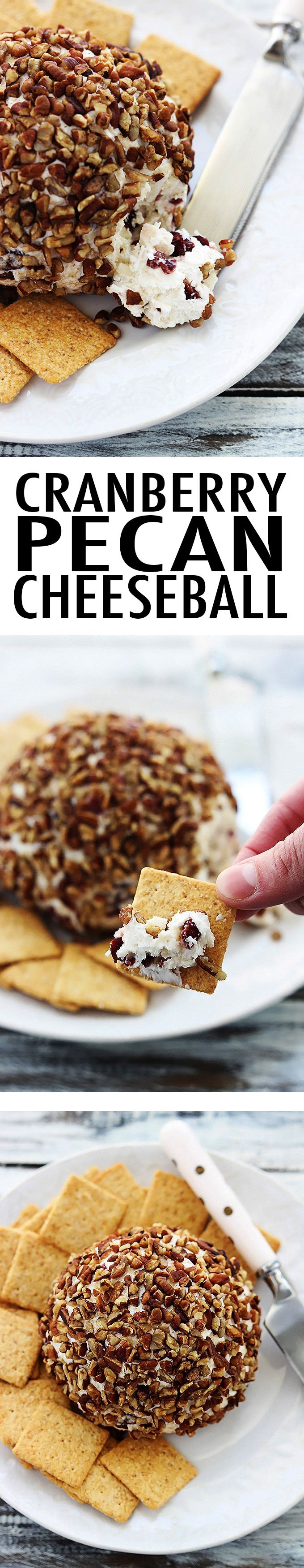 Cream cheese and sharp cheddar cranberry pecan cheeseball! This classic holiday appetizer is always a hit and so easy to make!