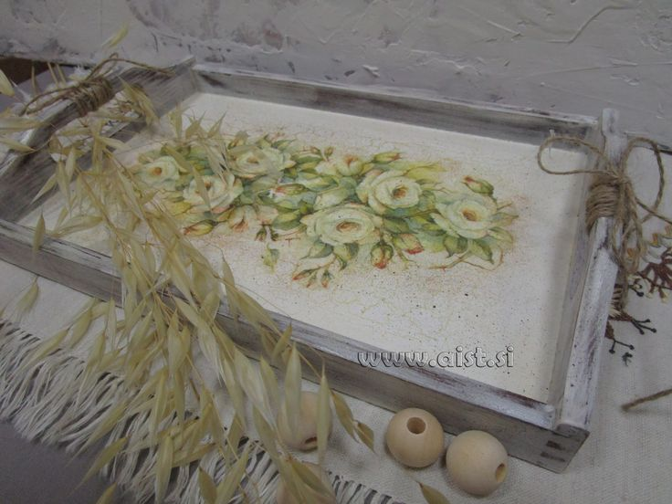 Decoupage tutorial - DIY. Country style. How to make a tray. Postopek se...