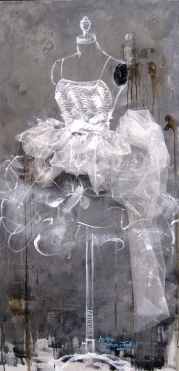 A Beautiful Mess   by Andrea Stajan-Ferkul   acrylic/mixed media on canvas (tulle fabric is applied)