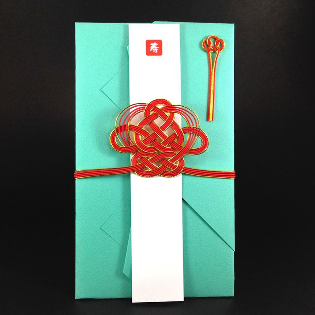 ハンドメイドマーケット minne(ミンネ)| 新橋色に紅の福徳結びのご祝儀袋