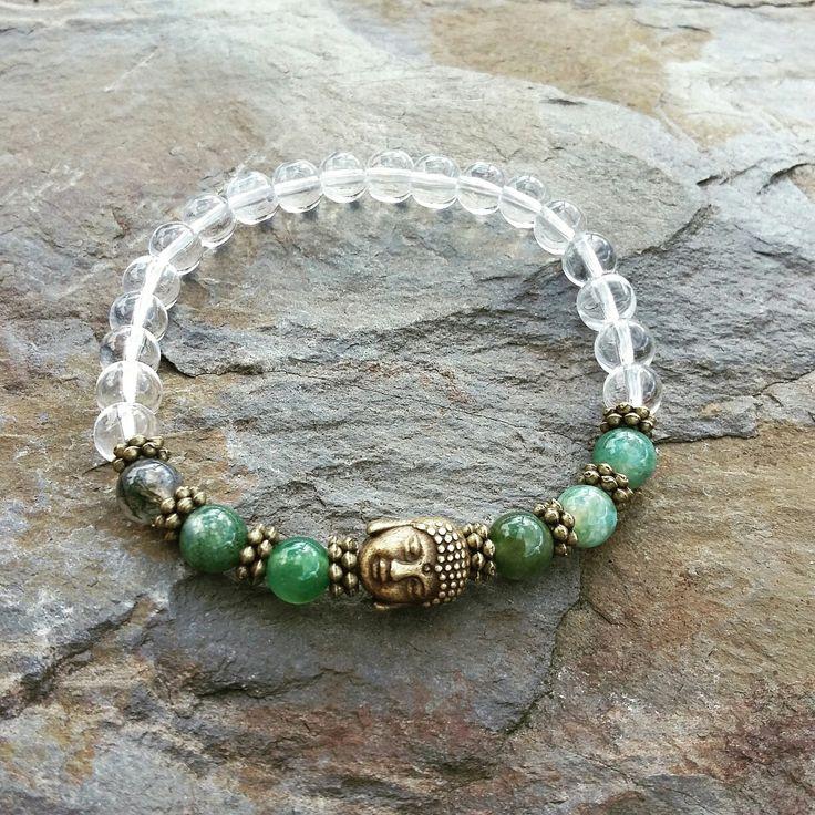 Crystal Quartz&Moss Agate Gemstone Buddha Bracelet-Yoga Meditation Healing Spiritual Reiki Crown Chakra-Clarity,Power,Calmness,Harmony