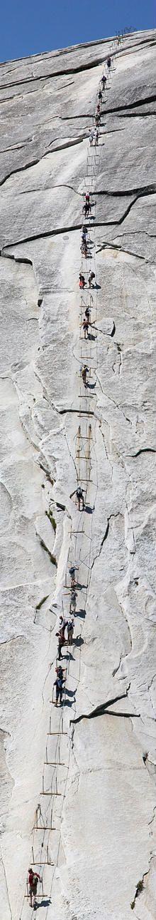 Cable hike at Yosemite Park /// #travel #wanderlust #adventure