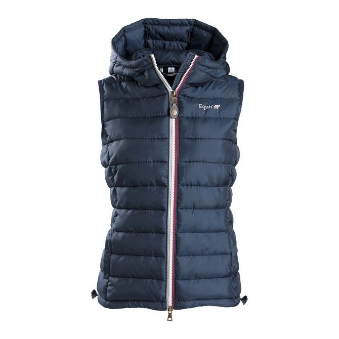 Gilet imbottito, da ragazzo, per equitazione con cappuccio integrale della linea Equi-thème, da indossare da solo o come sottogiacca per aumentare il calore nelle giornate più fredde invernali, con due tasche verticali.