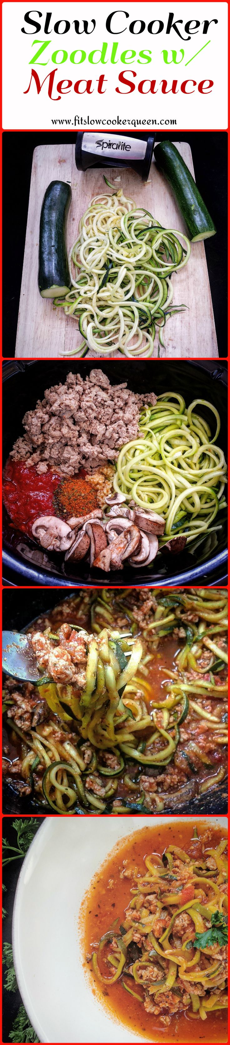 This slow cooker meal combines zoodles with marinara sauce and your choice of meat. There are only 3 main ingredients in this low-carb alternative to spaghetti. #crockpot #slowcooker