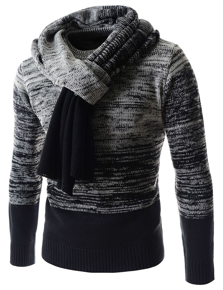 Korean casual fashion sweaters for men. Marled knitted tops are included scarf. Warm and stylish crew neck long sleeved sweaters, clothing for stylish guys.