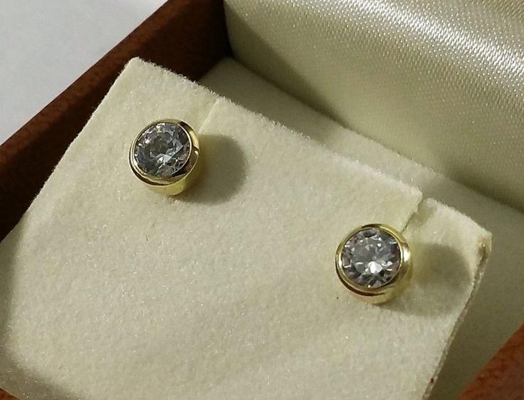 Vintage Ohrstecker - Ohrringe Ohrstecker Gold 585 Kristall edel OR140 - ein Designerstück von Atelier-Regina bei DaWanda