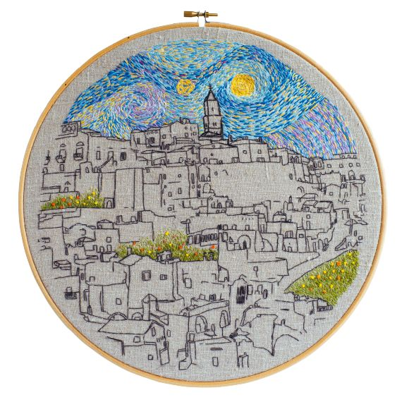 Sassi Di Matera with Sky (30cm), Embroidery by Charles - le Kadre