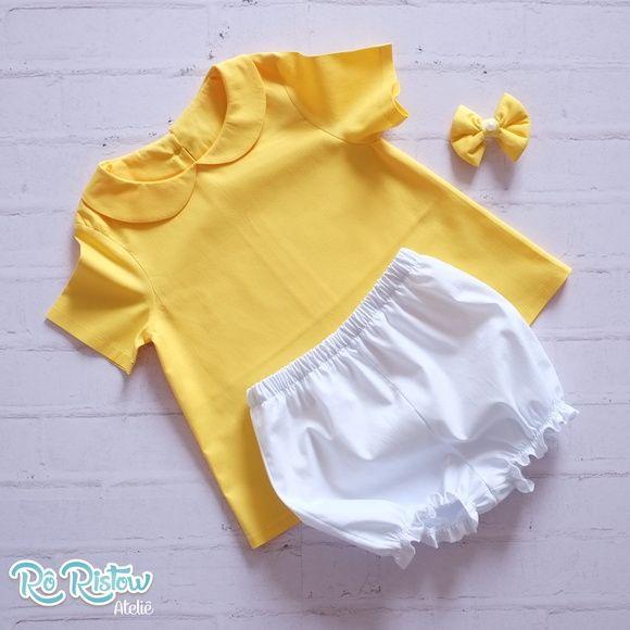 Vestido amarelo com gola, shortinho e laço super fofo. Confeccionado em tecido 100% algodão! Laço com aplicação de meia pérola.    Pode ser feito em outras cores!    Disponível nos tamanhos  12 meses  18 meses  2 a 8 anos