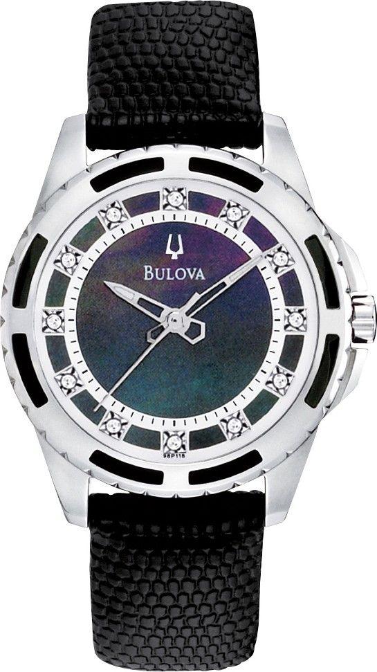 Zegarek damski Bulova Diamond 98P118, perłowa tarcza z diamentami, piękny design #zegarek #zegarki #diamenty #watch http://www.zegarek.net/zegarki/damskie/index.html