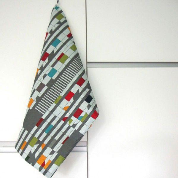 Geschirrtuch für Architekten: Halbleinen Tuch mit Print der Fassade des Corbusierhauses von s.wert http://www.s-wert-design.de