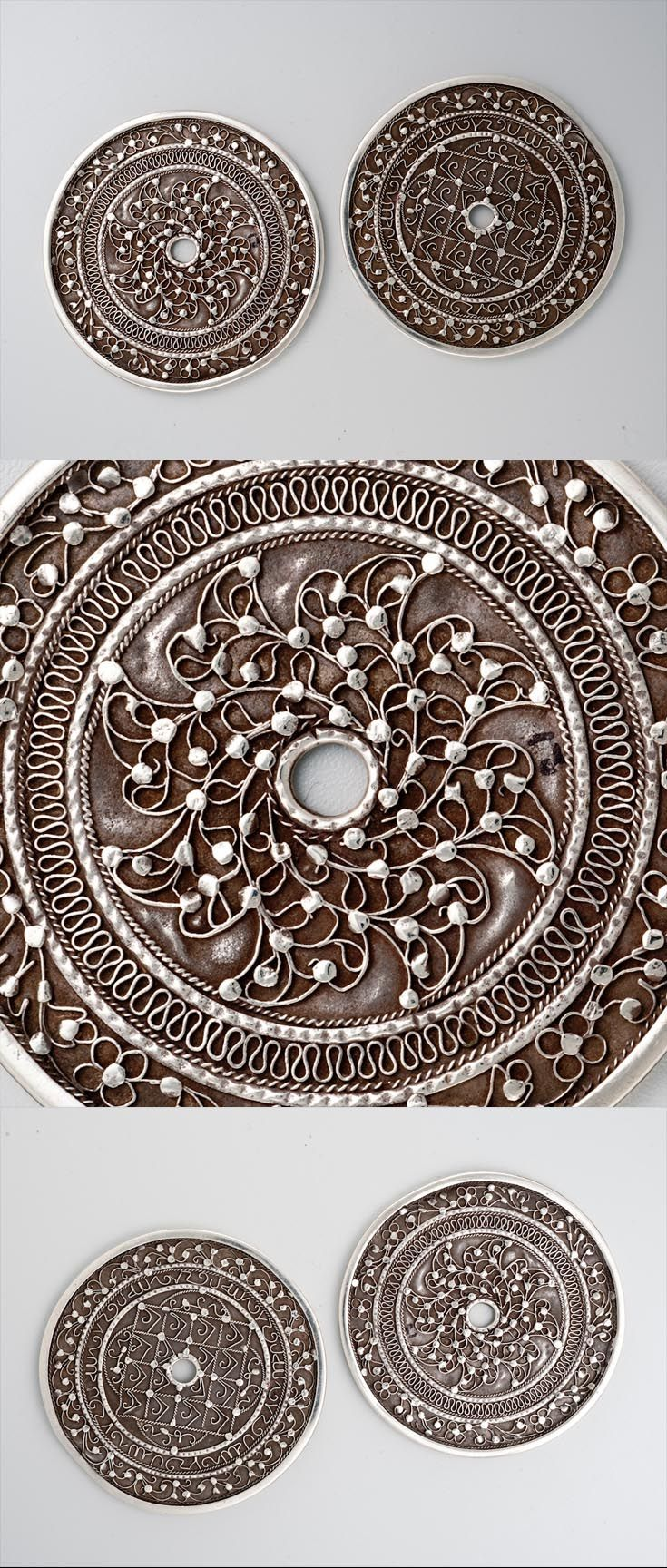 Indonesia - Sulawesi   Pair of pendant discs ~ Kawari ~ from the Bugis people; silver   ca. early 20th century    POR