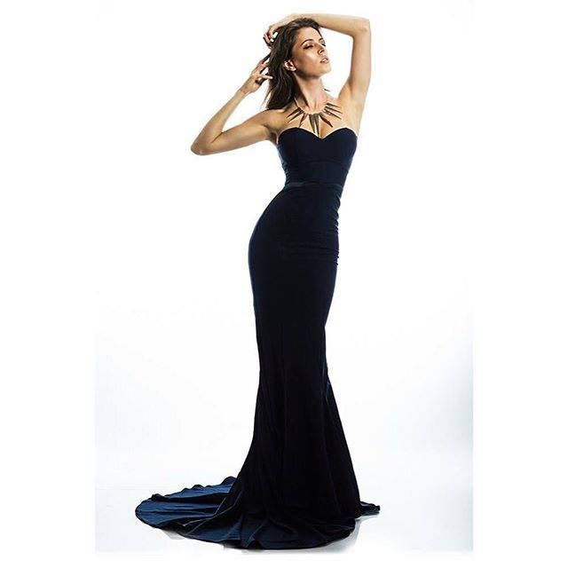 Sophisticated Black  Bridesmaids Gown Perfect for a Black Tie Affair.