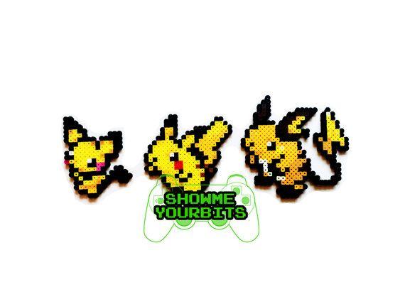 Pokemon Perler Pichu / Pikachu / Raichu por ShowMeYourBits en Etsy