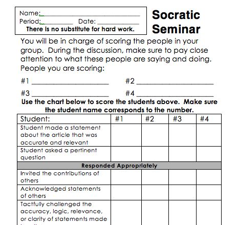 Socratic seminar advice. Includes sentence stater ideas and rubric.